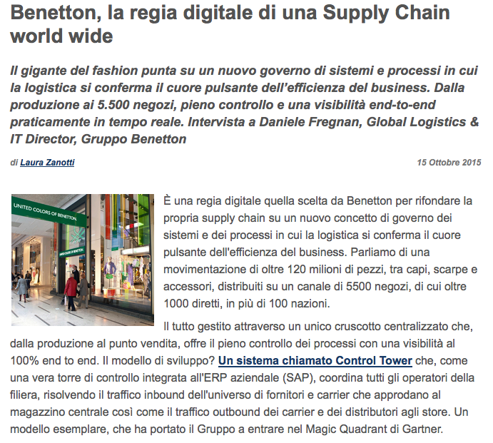 the benetton supply chain Comparison of zara and benetton supply chains i supply chain strategy the purpose of this report is to compare the supply chains of zara and benetton, two global players of the apparel industry.